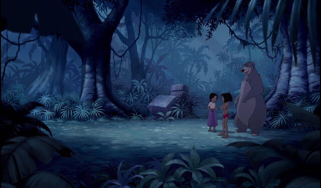 File:Mowgli Shanti and Baloo the bear are happy they got rid of Shere Khan the Tiger.jpg