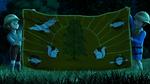 Camp wilderwood flag at night