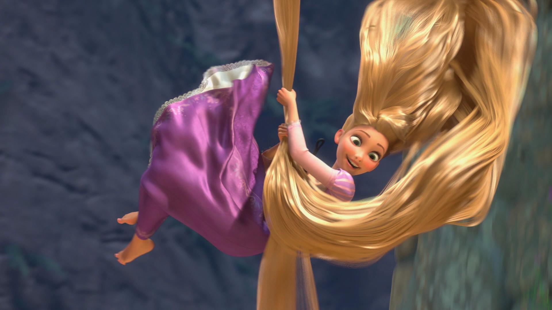 File:Rapunzel Sliding Down Tower On Hair.jpeg