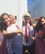 Cameron Boyce and Sarah Jeffery on the set of Descendants