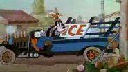 Goofy backing up ice truck