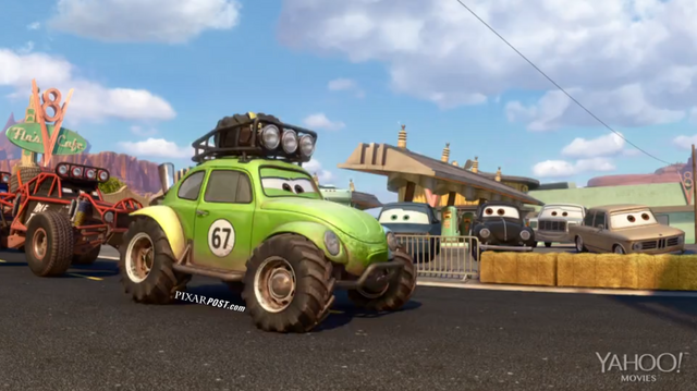 File:Pixar Post - Radiator Springs 500 and a half - Green Jeep.png