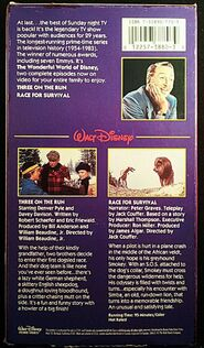 Wonderful World of Disney - Three on the Run-Race for Survival VHS - Rear