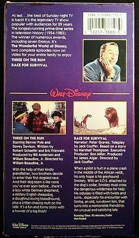 File:Wonderful World of Disney - Three on the Run-Race for Survival VHS - Rear.JPG