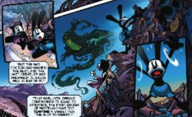 File:Oswald and Ortensia on Mickeyjunk mountain chased by the blot in the graphic novel.jpg