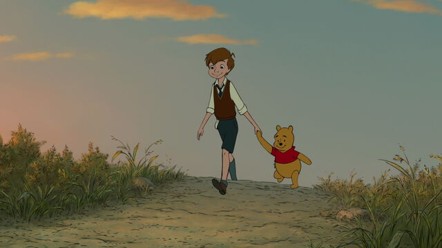 File:Winnie the Pooh and Christopher Robin are both walking together hand in hand.jpg