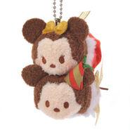 Mickey and Minnie Christmas Tsum Tsum Keychain