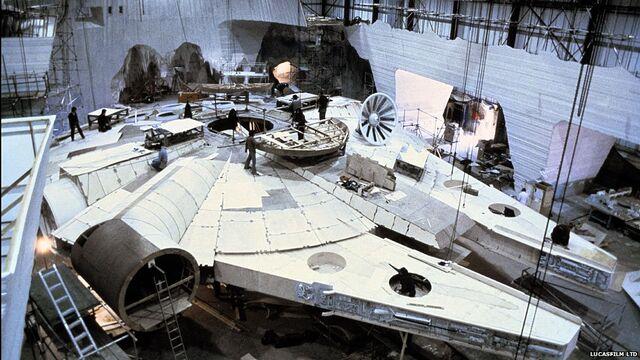 File:Millennium Falcon under construction for The Empire Strikes Back.jpg