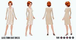 EnglishRoseSpin - Lace Trim Coat Dress beige