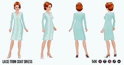 EnglishRoseSpin - Lace Trim Coat Dress turquoise