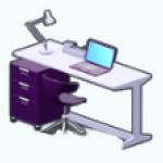 PrivateReserve - Grape Modern Desk and Cabinet