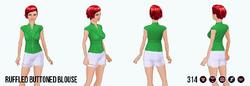 ModernStorybook - Ruffled Buttoned Blouse green