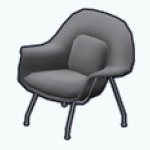 CafeRaffle - Gray Curved Chair