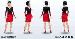 GirlInRedClothing - Black Rose Dress