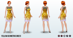 CafeRaffle - Yellow Geometric Dress