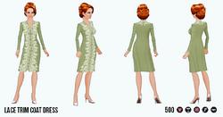EnglishRoseSpin - Lace Trim Coat Dress green