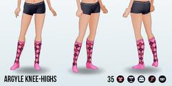 Urbanite - Argyle Knee-Highs pink
