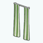 CafeRaffle - Green Striped Curtains