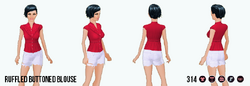 ModernStorybook - Ruffled Buttoned Blouse red