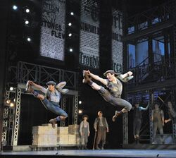 Aaron J. Albano (L) and Jess LeProtto (R) with the cast of NEWSIES. Photo by Deen van Meer
