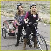 Amy and Teddy on bikes
