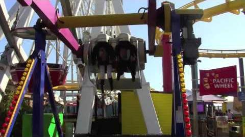 HTZ Exclusive Olivia Holt and Adam Irigoyen ride the GyroLoop at Mattel's Party on the Pier!