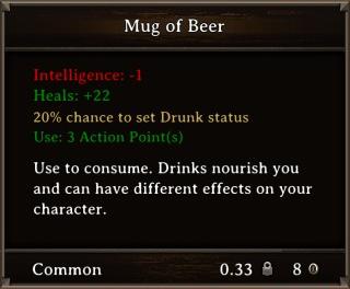 DOS Items Food Mug of Beer Stats