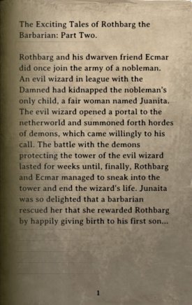 DOS Items Books Tales of Rothbarg the Barbarian 2 Page