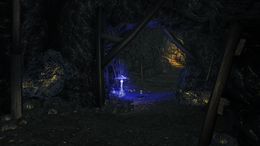 Abandoned Cave interior blue mushroom and iron ore veins (D2 FoV location)