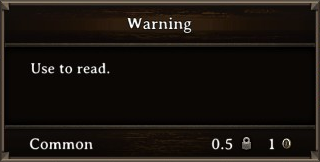 DOS Items Books Warning Stats