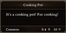 DOS Items Tools Cooking Pot