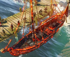 The burning ship