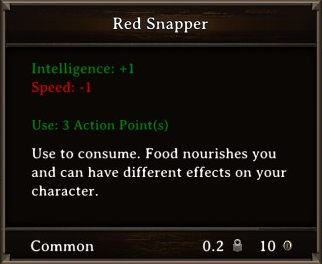 DOS Items Food Red Snapper Stats
