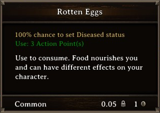DOS Items Food Rotten Eggs Stats