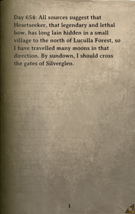 DOS Items Books Diary (Heartseeker) Page
