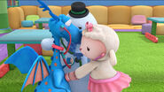 Stuffy, lambie and chilly listening to each other's heartbeats