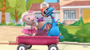 Lambie, hallie and stuffy dancing on the wagon