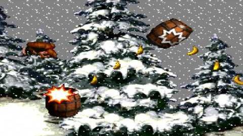 Donkey Kong Country (SNES) - Gorilla Glacier - Snow Barrel Blast