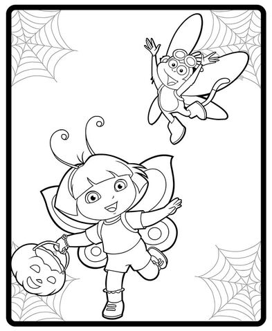 File:Dora and Boot Halloween costumes coloring page.jpg