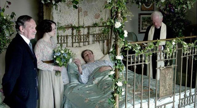 File:Downton abbey william Daisy wedding.jpg