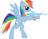 Rainbow firing her M4