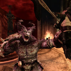 An ogre attacking Morrigan.