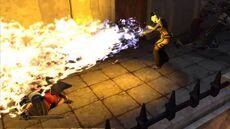 DA2 Mage blasting a Templar with fire