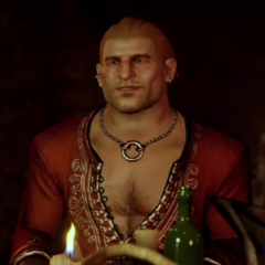 Varric Tethras during Wicked Grace scene