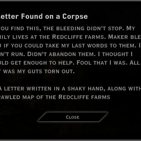 The hunter's letter that begins the quest