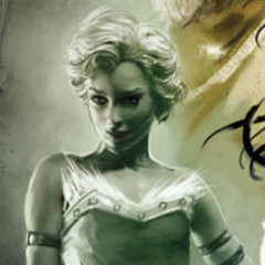 Maevaris as depicted on the cover of <i>Dragon Age Library Edition vol. 1</i>