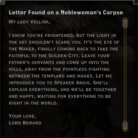 Berand's letter to Vellina
