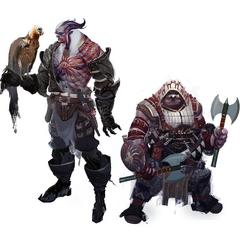 Concept art of male qunari and dwarven Inquisitors