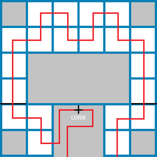 Solution to the eastern puzzle, with gates and the lever that controls them in black. (In order to complete the puzzle in the manner displayed, it is necessary to intentionally reset the puzzle, and then restart it from the area in the middle in order to be in the correct starting position.)