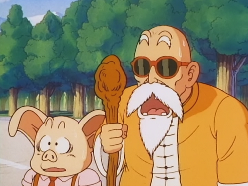 File:Roshi and Oolong shocked to hear that Goku defeated that army.png